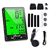 Blusmart Bike Computer Wireless Cycling Computer Waterproof Automatic Wake-up Backlight 21 Function Bicycle Speedometer Odometer Large LCD Display for Tracking Riding Speed Track Distance
