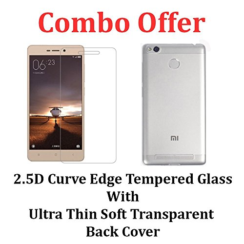 M.G.R.J Transparent Back Cover + Tempered Glass Screen Protector for Xiaomi Redmi 3s Prime / Xiaomi Redmi 3S / 3S Plus