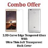 M.G.R.J Transparent Back Cover + Tempered Glass Screen Protector for Xiaomi Redmi 3s Prime / Xiaomi Redmi 3S / 3S Plus