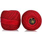 Crochet Cotton Thread Size 20 for weaving, knitting and embroidery craft, 1 Ball, 200 Mtr of 100% cotton threads per roll, Factory made thread consistent in color and quality. (Red)