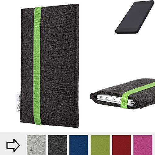 flat.design Handyhülle Coimbra mit Gummiband-Verschluss für Shift Shift5.3 - Schutz Case Etui Filz Made in Germany in anthrazit grün - passgenaue Handytasche für Shift Shift5.3