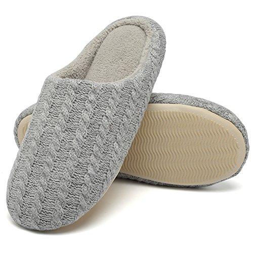 FANTURE Frauen Pantoffeln Kaschmir Baumwolle Aus Anti Rutsch Winter Warm Atmungsaktiv Indoor Schuhe -Grey-42XL43