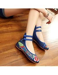 GuiXinWeiHeng xiuhuaxie (new)-Gestickte Schuhe, Sehnensohle, ethnischer Stil, weibliche Tuchschuhe, Mode, bequem, Tanzschuhe, blue, 40