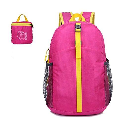 ZYPMM Outdoor Sporttaschen wasserabweisende leichte Klapp-Reisetasche Klapp Rucksack untergebracht Rosa