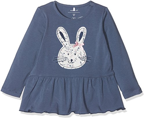 NAME IT Baby-Mädchen Langarmshirt Nbfermarie LS Top, Blau (Vintage Indigo), 74