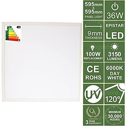 36W High Performance Ceiling Tile Recessed/Suspended Indoor LED Panel Light 600x600mm 5500-6500K Day White 3year warranty Energy Saving Economical Lighting Lamp Bulb Studio Shop Gallery Hair Saloon Dentist Office