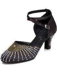T.T-Q Zapatillas de Deporte de Mujer Zapatos de Cuero Modernos Zapatillas de Tacón Grueso Negro Sandalias Latinas...