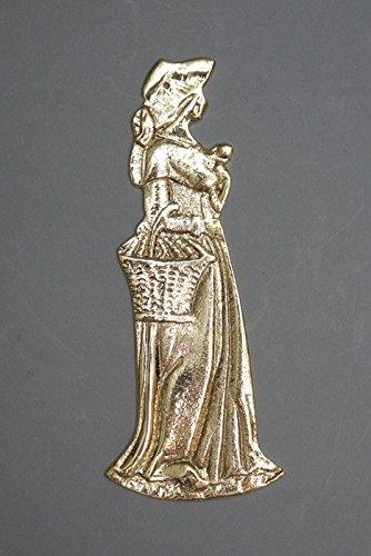 Luxus Pur UG Edle Figur einer Frau aus Messing - Symbol zur Kennzeichnung der Damentoilette, Farbe:Patina poliert