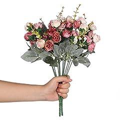 Idea Regalo - Veryhome, bouquet vintage di fiori finti in seta artificiale, piccole rose con foglia per decorazioni floreali di alta qualità, confezione da 2 Pink Coffee