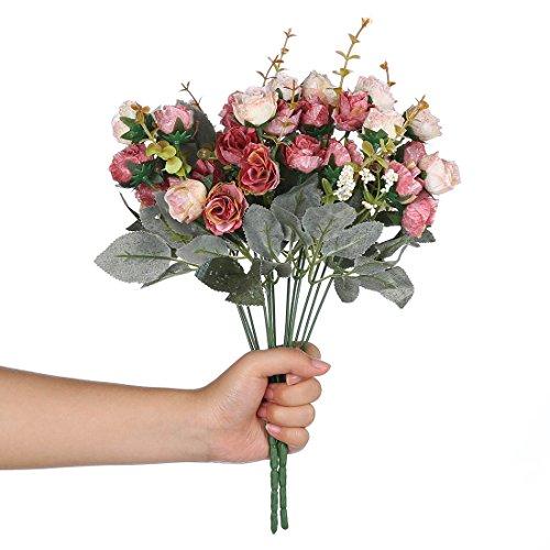 Veryhome, bouquet vintage di fiori finti in seta artificiale, piccole rose con foglia per decorazioni floreali di alta qualità, confezione da 2 pink coffee