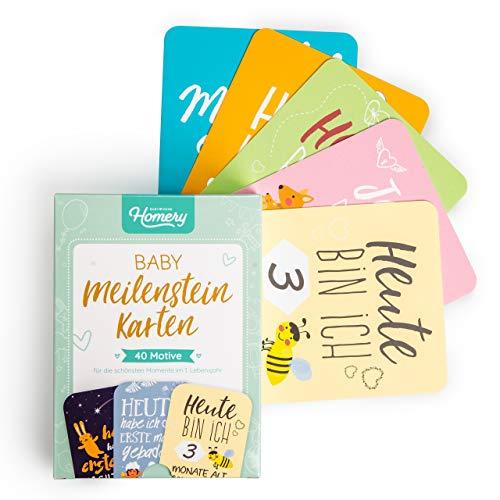 40 Baby Meilensteinkarten mit hochwertiger Verpackung - Deutsche Meilenstein-Karten als Geschenkidee zur Geburt, Schwangerschaft oder Taufe - Geschenk für Junge und Mädchen - Foto Karten
