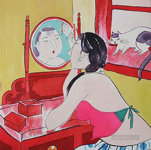 ZXJYH Horizontal Grande Salón Pintura Decorativa Luz Espejo Niña China Belleza Cat Tradicional Estilo...