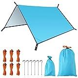 FEMOR Zeltplane 3m x 3m,Camping Zelt Tarp Hängematte Regenschutz Regen Fliegen Wasserdicht Sonnenschutz Tragbare Leichte wasserdichte für Zelt Wanderungen Camping Picknick