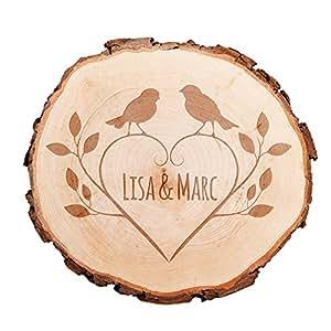 tranche d 39 arbre avec gravure personnalis e oiseaux tronc d 39 arbre grav e avec noms et date. Black Bedroom Furniture Sets. Home Design Ideas