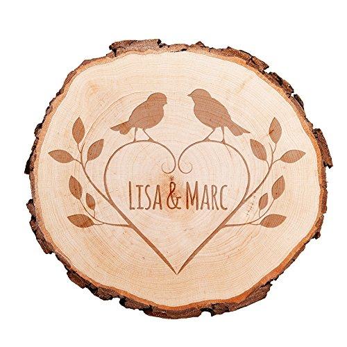Baumscheibe mit persönlicher Gravur – als Türschild, Wandschild, Dekoration, Hochzeitsgeschenk, Liebesgeschenk, Geburtstagsgeschenk oder zum Valentinstag – Motiv Vögel