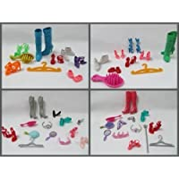 Pack Set of 9 Barbie Sindy doll items: shoes boots & accessories: hangers, mirror, comb, brush, sunglasses,crown, tiara - by Fat-Catz