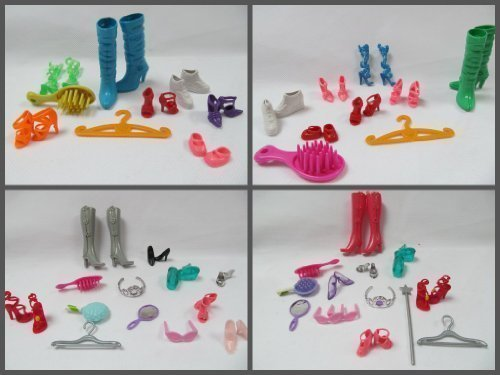 Packung Set mit 9 Barbie Sindy puppe artikel: schuhe stiefel & zubehör: kleiderbügel, spiegel, kamm, bürste, sonnenbrillen, krone, tiara - von Fat-Catz