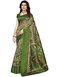 Pisara Women Kalamkari Print Poly Silk Saree With Blouse Piece,Multicolor Sari