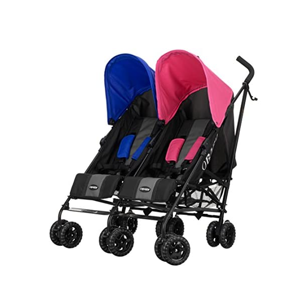 Obaby Apollo Twin Stroller - Pink/Blue Obaby Suitable from birth to a maximum weight of 15kg Independently adjustable multi position seat units Independently adjustable hoods 1