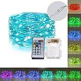 LED Lichtkette OASMU RGB 16.4ft 50 LEDs Farbig Lichterketten mit Fernbedienung Dekoration Kupferdraht für Weihnachten, Garten, Hochzeit, Kunststoff