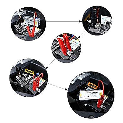 AFTERPARTZ DO-06 Car Jump Starter 12V 20000mAh 1000A para Gas / Gasolina / Diesel, 5V 2.1A USB 12-16V de Salida del Cargador Externo Power Bank, con Smart Clamp Cable Built-in-Protección Seguridad Avanzada y Linterna LED