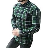 SANFASHION Langarmshirt Herren Gitter Große Größe Hemd Freizeithemd Langarm Shirt Karomuster Business Top Bluse