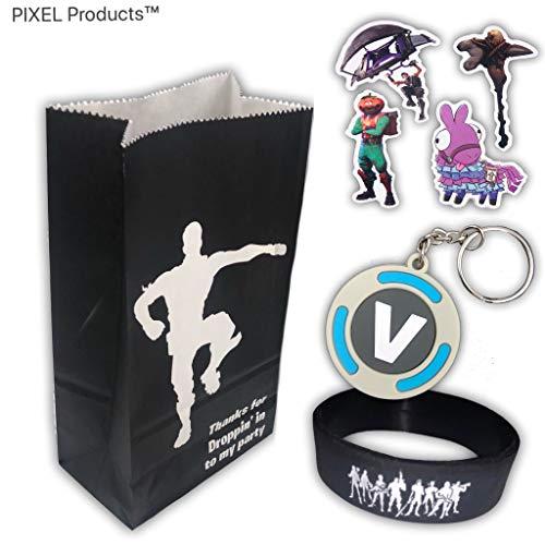 PIXEL Products Battle Gamer Party Bag con 3 favores (Banda de muñeca, Llavero y Pegatinas) Suministros de Fiesta de cumpleaños, Rellenos de botín (10 Bolsas de Fiesta rellenas)