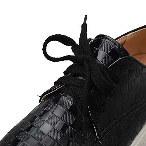 VogueZone009 Femme Couleur Unie Pu Cuir à Talon Bas Rond Lacet Chaussures Légeres Noir