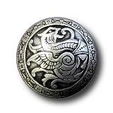 Knopfparadies - 6er-Set altertümlich wirkende leicht gewölbte Metall Ösen Knöpfe mit Drachen Motiv