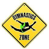 Schilder Authority Mädchen Gymnastik Schild Decor für Zimmer Tür oder Wand für junge Kinder, eine Turnerin mit Design Balletttrikot Poster Grün, Neuheit Geschenk, Grün Springender Mädchen