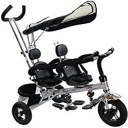 GOPLUS Tricycle 4 en 1 pour Jumeaux Tricycle pour 2 Enfants Evolutif avec Para-Soleil Convient pour l'Age 18 Mois-48 Mois Capacité de Charge 40KG-Noir