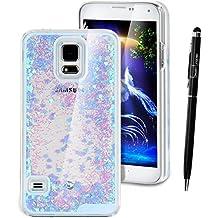 Funda para Samsung Galaxy S5 Neo , SMART LEGEND Dual Layer 3D Líquido Glitter Glitter Shiny Gloss Sparkle Clear Dynamic Quicksand Case Cover Skin Shell Carcasa Funda, Cubierta de la Caja Funda Protectora de Plástico Duro Caso Claro Transparente que Fluye del Brillo de Bling Carcasa Funda Caso + 1 X Stylus Pen - Corazón Púrpura