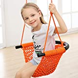 Arkmiido Schaukelsitz für Kind im Alter von 2-15 Schaukelsitz Weben Nylon Gestrickt Außen Innen Stahlrohr mit Einer Kapazität bis zu 400lbs (orangefarben)
