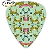 Cheetah Fabric Safari Linograbado Diseño Coral Mint A Púas de guitarra para guitarra eléctrica Paquete de 12