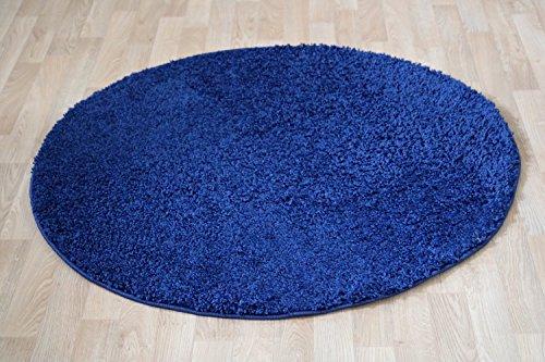 Runder Shaggy Hochflor Langflor Teppich für das Wohnzimmer, Schlafzimmer, Esszimmer und das Kinderzimmer geeignet natürlich Öko Tex 100 (120 cm rund, blau)