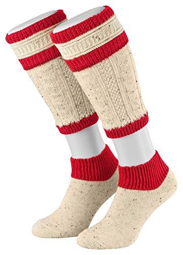 en Loferl Stutzen Trachtenstrümpfe Trachtensocken Grösse 39-42 Farbe Naturmelange-Rot (Rote Trachten Socken)