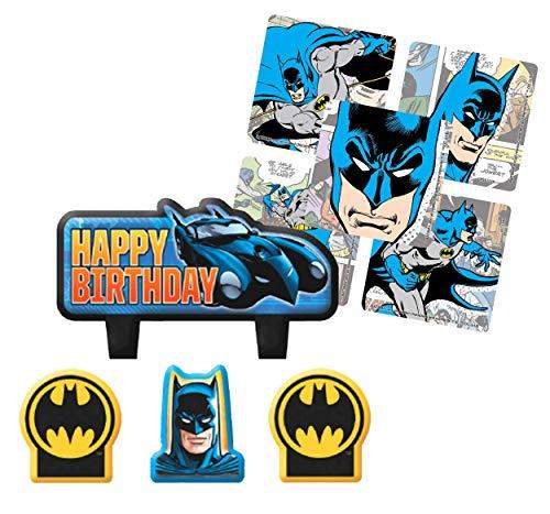 Batman Geburtstagskerzen-Set, 4-teilig Plus 16 Karat Partygeschenk-Aufkleber.