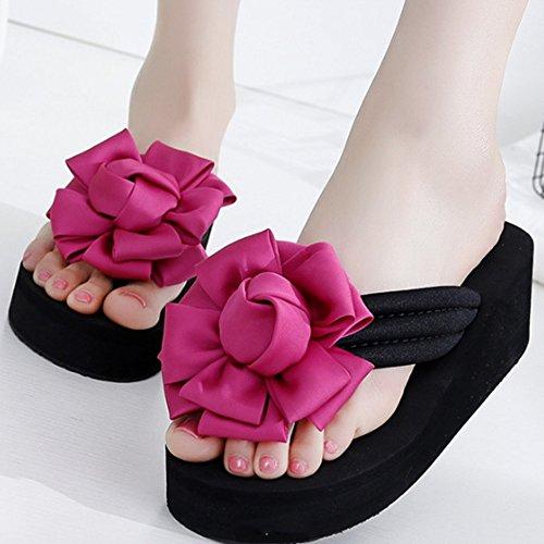 Confortevole Al di fuori della parola pantofole Donna estate scivoloso con pantofole Dolci fiori freddi pattini freddi Spessore scarpe da spiaggia alla moda di fondo Piedi e pantofole (5 colori opzion E