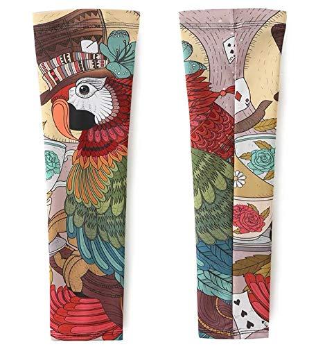 Kostüm Muster Papagei - JinRui-Sport Tattoo Sleeve Ice Silk Cuff Summer Sonnencreme Tattoo Ärmel, S, bunter Papagei 2er Pack