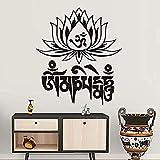 Sticker mural,Populaire Yoga Mantra Om Mani Padme Hum Lotus Wall Sticker Home Decor Vinyle Pas Cher Art Stickers Amovible PVC Maison Décor Chambre 58 * 67 CM