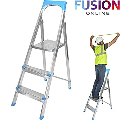 3 STEP LADDER FOLDING STEEL TREAD FOLDABLE DIY KITCHEN STEPLADDER