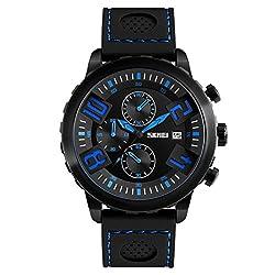 Skmei Elegant Design Analog Chronograph Sports series Genuine Leather Watch -9153 Yellow