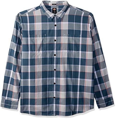 Dickies Men's Long Sleeve Relaxed Yarn Dye Plaid Shirt, - Dye Plaid Shirt