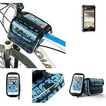 Bolso Bolsa Funda Bicicleta para Caterpillar Cat S50, Funda Móvil soporte tubo Bici, azul, Impermeable Resistente al Agua - K-S-Trade(TM)