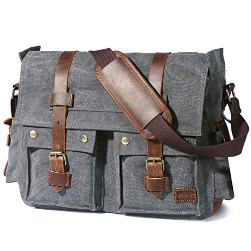 Lifewit Borsa a Tracolla 17.3 Pollici per Laptop Vintage in Pelle e Canvas