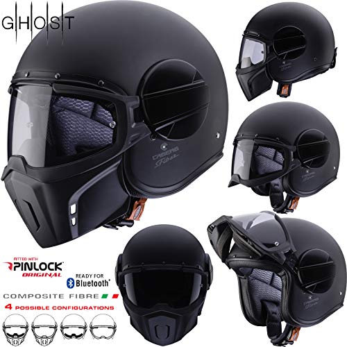 Caberg Ghost Matt Black Open Face Motorcycle Helmet XL Matt Black