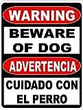 Dozili Warnschild aus Aluminium, zweisprachig, Aufschrift Beware of Dog, englische und spanische Sicherheit, 8 x 12 cm 12