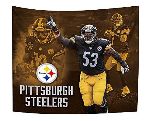 Gloral HIF Wandteppich zum Aufhängen, Dekoration, Basteln, Vorhang, Heimdekoration, Decke, 127 x 152 cm Pittsburgh Steelers