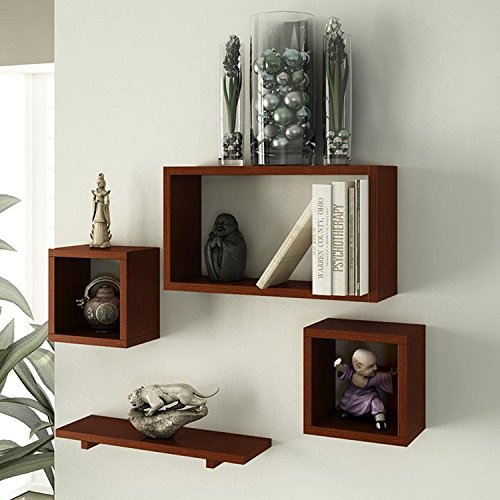 Brown Wooden Wall Shelf Set Of Four