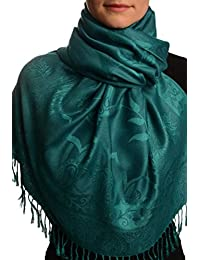 Moroccan Rose On Teal Blue Pashmina Feel With Tassels - Blue Pashmina Floral Scarf